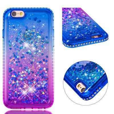 For iPhone 6 Side Drill + Gradient Color Quick Sand Cover