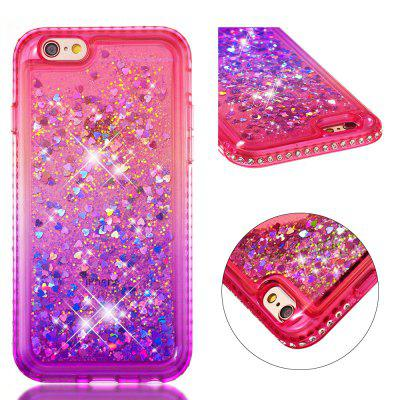 For iPhone 6S Side Drill + Gradient Color Quick Sand Cover