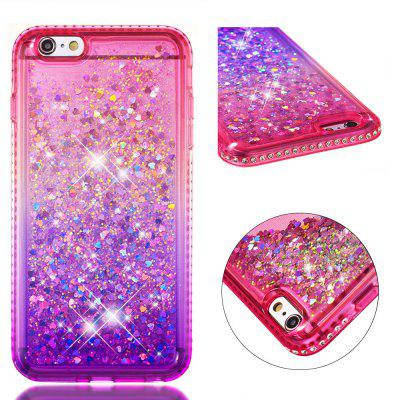For iPhone 6S Plus Side Drill + Gradient Color Quick Sand Cover