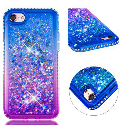 For IPhone 8 Side Drill + Gradient Color Quick Sand Cover