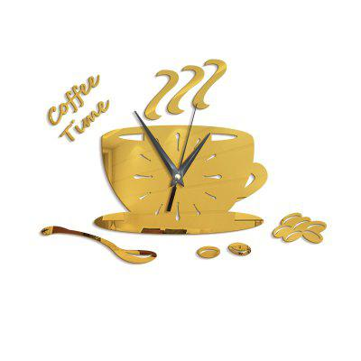 Diy Coffee Cup Mute Home Decoration Wall Sticker Clock