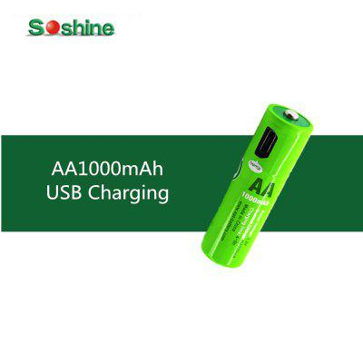 1Pcs Original Soshine USB AA 1000mAh NiMH Rechargeable Battery with Built-in USB