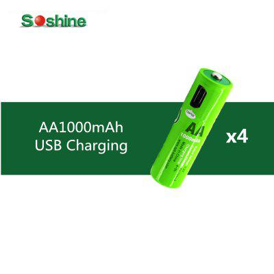 4PCS Original Soshine USB AA 1000MAH Rechargeable Battery with Built-In USB Port