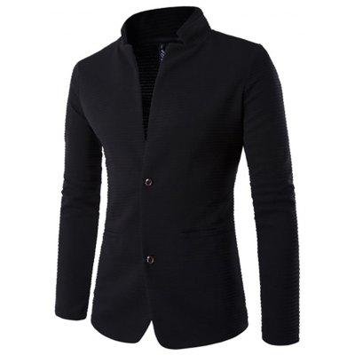 Men's Solid Color Stand Collar Cardigan Button Casual Suit