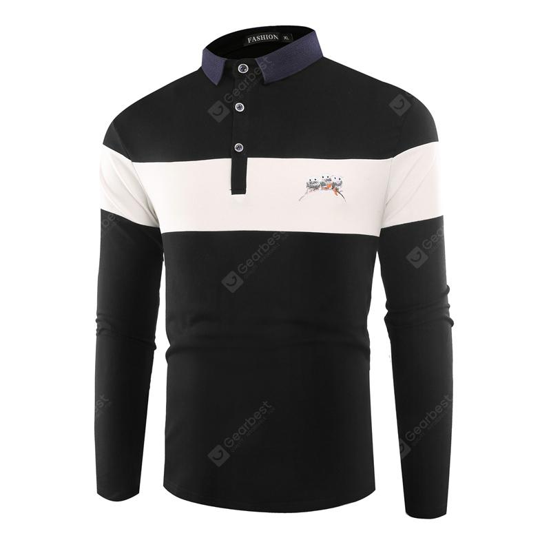 Lapel Collar Business Stitching Casual Mens Long-Sleeve T-Shirt