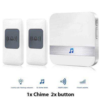 1x Chimes 2x Push ButtonWireless Doorbell Remote Door Bell  with 52 Chimes