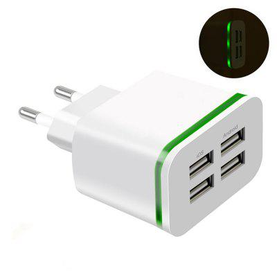 EU Plug Adapter 5V 4A USB Mobile Phone Wall Charger (Green Light)