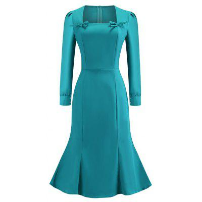 Women's Daily Going out Street  Elegant Sheath Dress Color Block Spring Blue