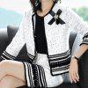 Autumn And Winter Women's New Beaded Bowknot Coat + Skirt Temperament Suit - WHITE