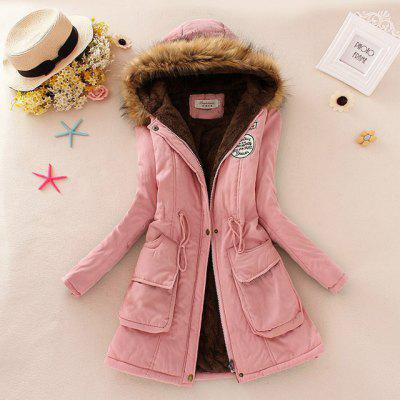 Waist Collection Cotton Wool Collar Hooded Cotton Padded Clothes