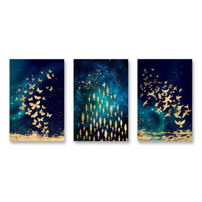 W753 Fish Group Decoration Unframed Wall Canvas Prints for Home Decorations 3PS