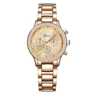 GENEVA Women Fashion Casual Thin Band con diamante britannico al quarzo