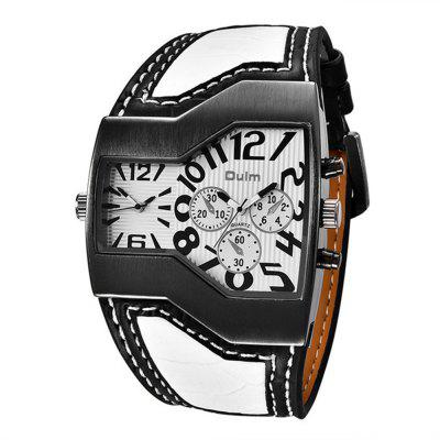 Oulm Men Classic Leisure Dual Time Zone Belt Wrist Quartz Wrist Watch