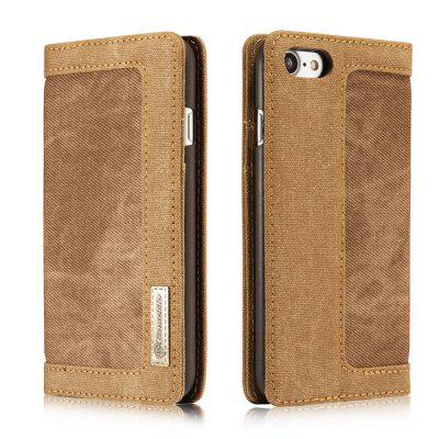 Cowboy Canvas Cell Phone Leather Case Flip Cover Stent for iPhone 6S Plus