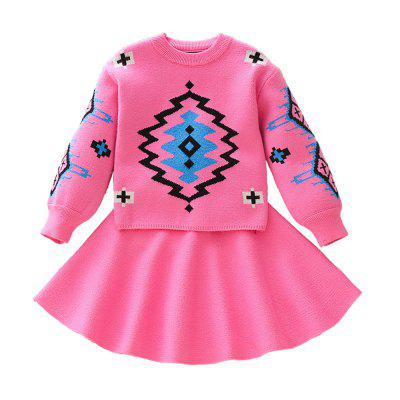 Two-Piece Girl'S Suit Fashion Jacquard Pullover Sweater + A-Line Skirt