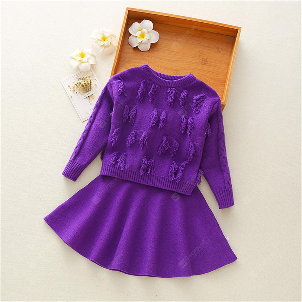 707f01bd7 Sweater Skirt A-Line Skirt Children S Suit Girls Knit Skirt Two ...