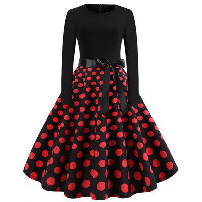 Printed Long Sleeve Dress with Red Dots