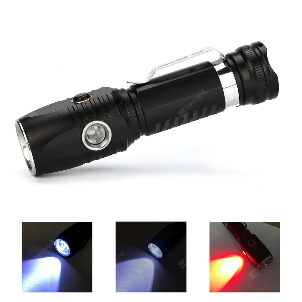 LED Flashlight 18650 Battery USB Rechargeable Side Red LED Lights 3 Modes