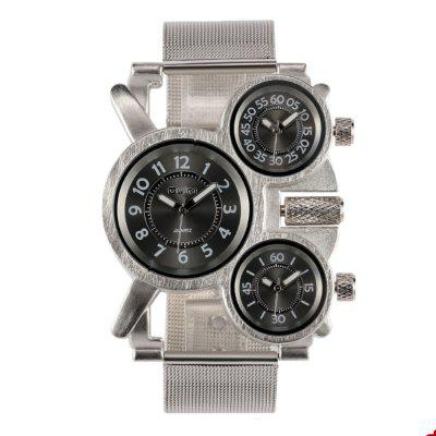 Oulm Men Military Multi-Functional 3-MOTION Quartz Steel Mesh A Large Dial Watch