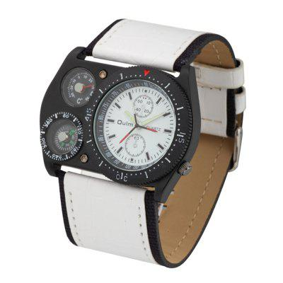 Oulm Men Sports Wide Belt Compass Thermometer Decorated Quartz Wrist Watch