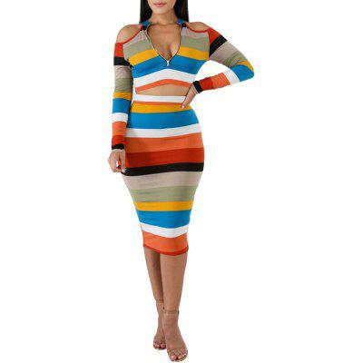 Women's Cold Shoulder Long Sleeve Striped Bodycon Dress Suit