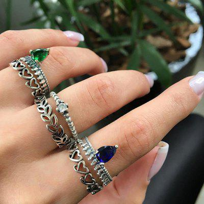 6PCS/SET Vintage Heart Crystal Rings Set Women Geometric Knuckle Boho Jewelry