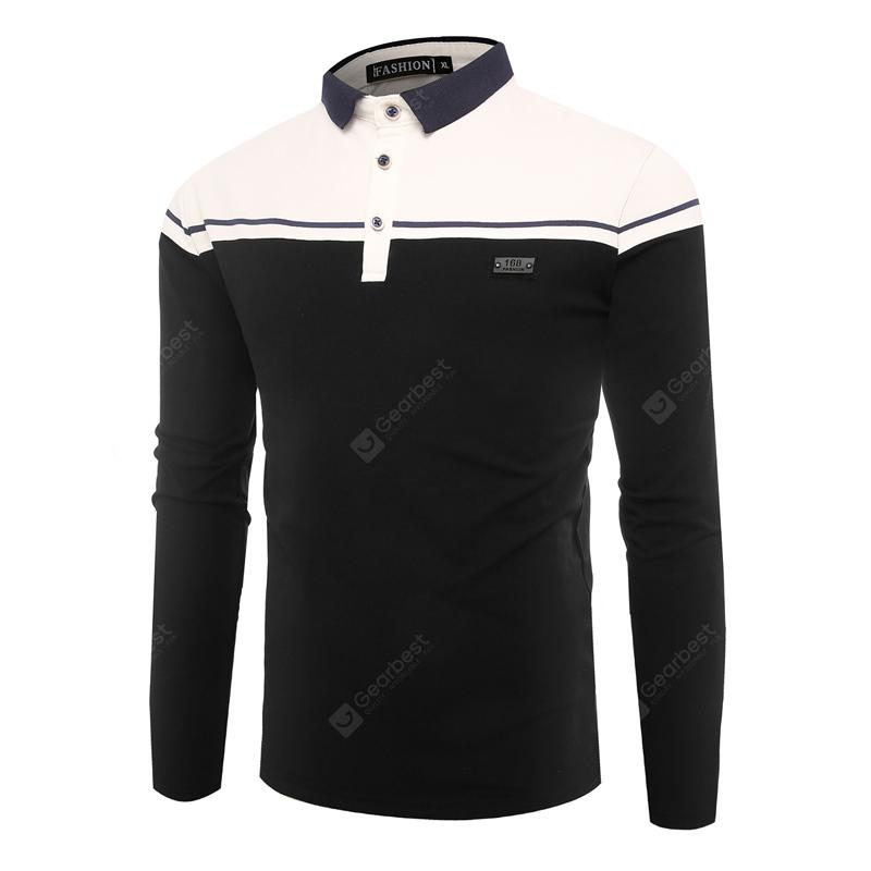 Fashion Business Stitching Slim Mens Long-Sleeve Shirt T-Shirt