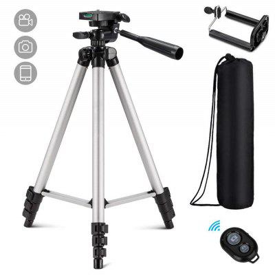 Three-way Tripod Camera with Cell Phone Clip Holder and Remote Control