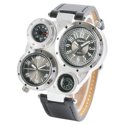 Oulm Men Sports Thermometer Compass Military Belt Dual Movement Quartz Watch
