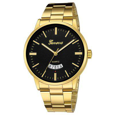 GENEVA Men Fashion Business Staple Scale Calendário Aço Inoxidável Quartz Watch