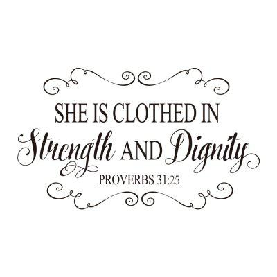 She Is Clothed in Strength Art Vinyl Mural Home Room Removable Wall Sticker