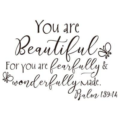 You Are Beautiful Butterfly Art Vinyl Mural Home Room Decor Wall Sticker