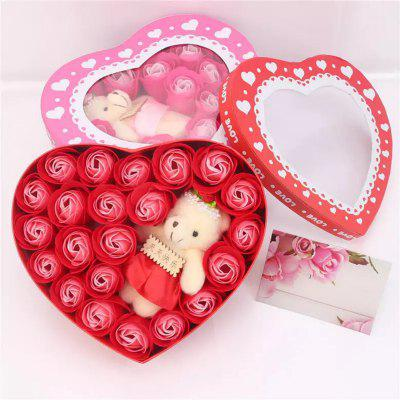 Soap Rose Flower Petal with I Love You Little Bear Doll in Heart-Shaped Gift Box