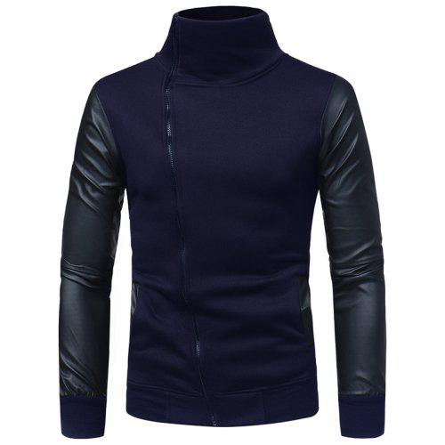 Men'S Leather Sleeves Casual Slim Collar Zipper Sweater