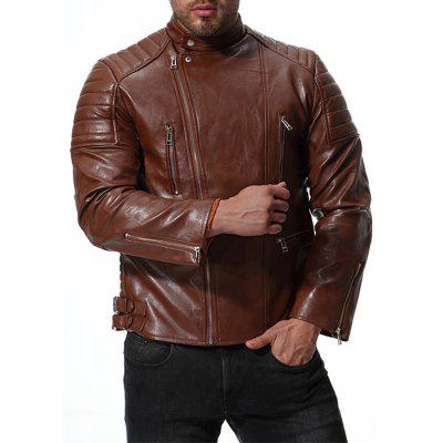 Men's Casual Motorcycle Leather Long Sleeve Solid Color Jacket