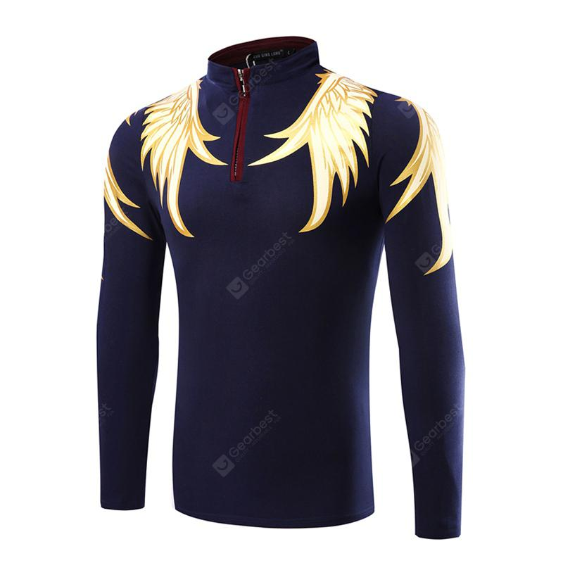 Casual Stand Collar Wings Business Mens Long Sleeve T-Shirt