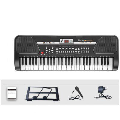 61 Keys Electronic Keyboard Piano Music Instrument with Micr LCD Adapter