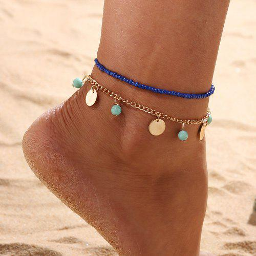 1d6f34eb642 2 PCS SetBohemian Blue Turquoise Beaded Round Beaded Combination Anklet  Bracelet