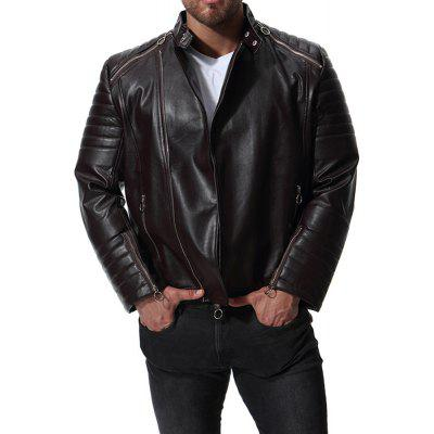 Men's Solid Color Casual Cable-Strap Motorcycle Leather Jacket