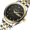 KINGNUOS Glass Diamond Inlaid Calendar Week Men'S Steel Band Watch Quartz Watch - MULTI-B