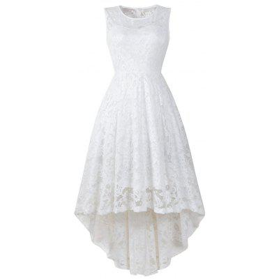 Sleeveless Cocktail Lace Dress With Round Collar For Women