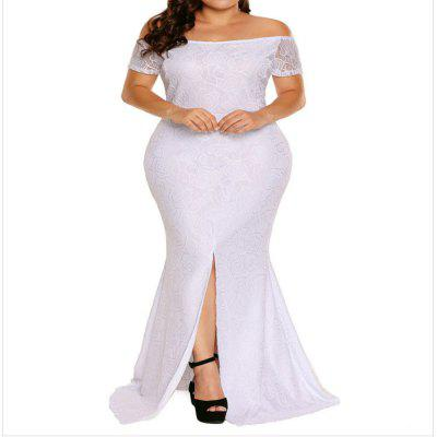 Plus Size Full Dress Sexy Lace Off Shoulder Short Sleeved Skirt Tight Dress