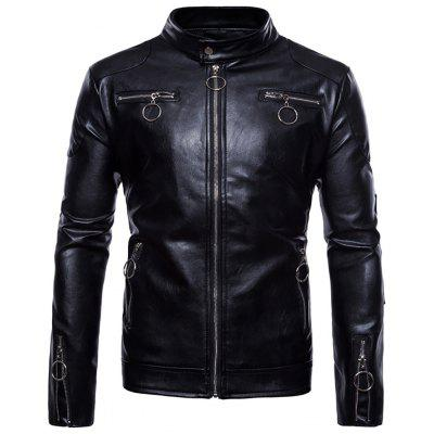 Men's Casual Stand Collar Long Sleeve Motorcycle PU Leather Jacket