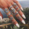 Bohemian Retro Silver Elephant Lotus Suit Women'S Ring 11-PIECE Set - SILVER