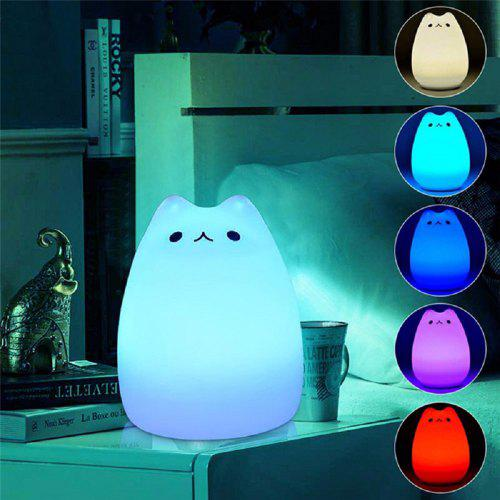 Touch Sensor Led Night Light Usb Colorful Cute Cat Silicone