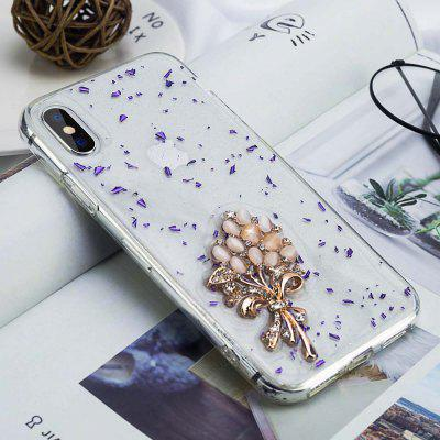 For iPhone X/XS Case Transparent Jewelry Pearl Owl Horse Bow Shiny Soft Cover