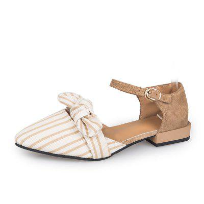 Butterfly Tip Flat Bottom Comfortable Button Womens Single Shoes