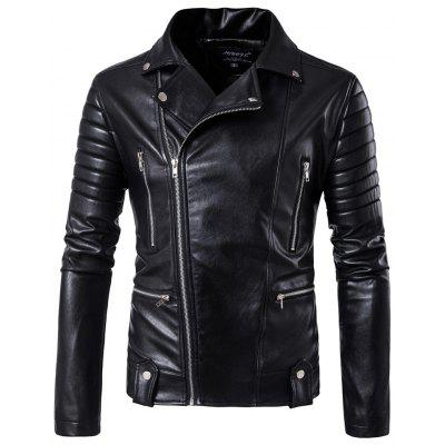 Men's Casual Long Sleeve Lapel Leggings Zip Leather Jacket