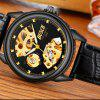 Clássico Homens Negócios Belt Sports Hollow-Out Automatic Mechanical Watch - PRETO