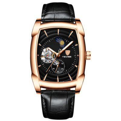 Tevise Rectangle Automatic Luminous Leather Strap Mechanical Watch
